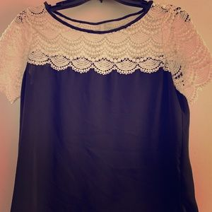 Black short sleeve with cream lace detail blouse